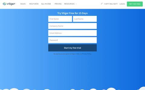 Screenshot of Signup Page Trial Page vtiger.com - CRM Free Trial    Vtiger Sign up - captured Nov. 18, 2017