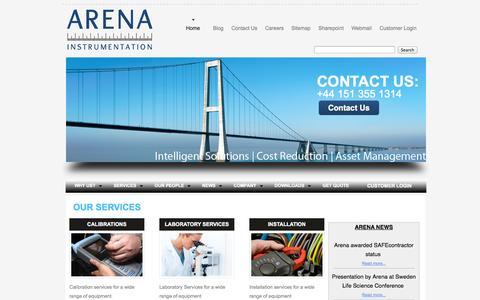 Screenshot of Home Page arena-instrumentation.com - Arena Instrumentation   HOME   - captured Oct. 4, 2014