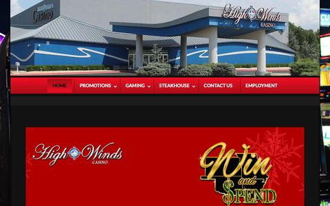 Screenshot of Home Page highwindscasino.com - High Winds Casino - We Give You More! - captured Nov. 5, 2018