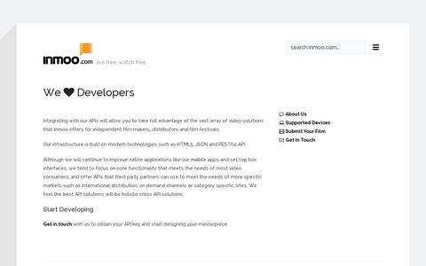 Screenshot of Developers Page inmoo.com - inmoo - web's largest independent entertainment theater - captured July 19, 2014