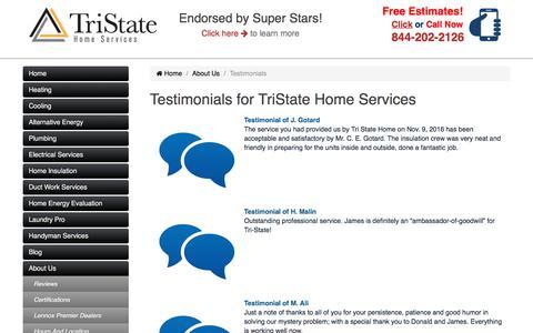 Screenshot of Testimonials Page tristatehomeservices.com - Testimonials for TriState Home Services - captured Nov. 13, 2017
