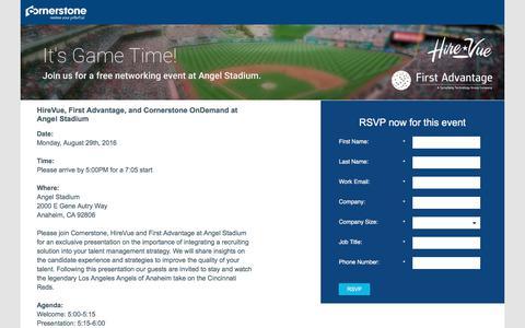 Screenshot of Landing Page cornerstoneondemand.com - Cornerstone, HireVue, and First Advantage at Angel Stadium! - captured Sept. 19, 2018