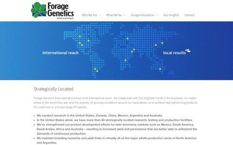 Screenshot of Locations Page foragegenetics.com - Forage Genetics International – Alfalfa breeding, development… - Locations - captured Nov. 3, 2014