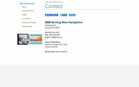 Screenshot of Contact Page bbb.org - BBB Concord Contact Information - captured Jan. 12, 2020