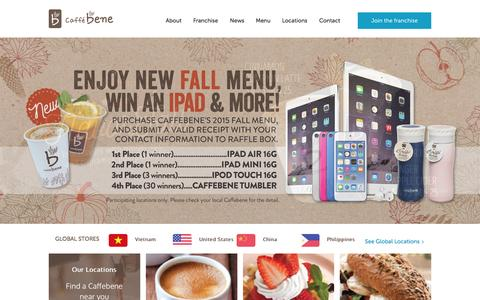 Screenshot of Home Page caffebeneusa.com - Home - CaffebeneCaffebene - captured Oct. 27, 2015