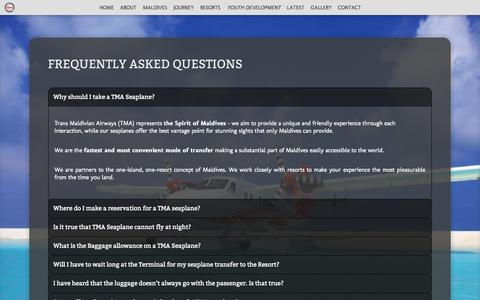 Screenshot of FAQ Page transmaldivian.com - Frequently asked questions - - captured Sept. 19, 2014