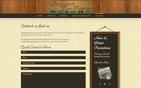 Screenshot of Contact Page langanstearooms.co.uk - Contact - Langans Tea Rooms - captured July 16, 2018