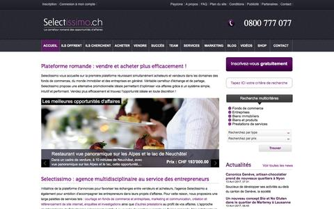 Screenshot of Home Page selectissimo.ch - Selectissimo : achat et vente de fonds de commerce et de biens immobiliers, cession d'entreprises en Suisse romande - captured May 11, 2017
