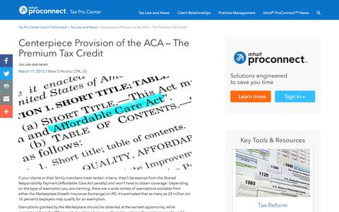 Screenshot of Press Page intuit.com - Centerpiece Provision of the ACA – The Premium Tax Credit | Tax Pro Center | Intuit ProConnect - captured Nov. 21, 2019