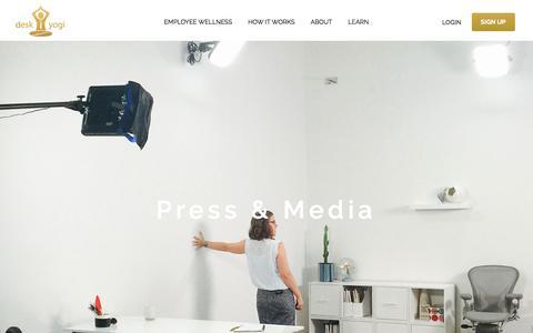 Screenshot of Press Page desk-yogi.com - About Press - Desk Yogi - captured July 8, 2018