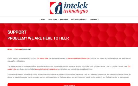 Screenshot of Support Page intelektechnologies.com - Support – Intelek Technologies - captured Sept. 19, 2018