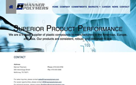 Screenshot of Contact Page mannerpolymers.com - Manner Polymer | Contact Us | Dallas TX - captured July 22, 2016