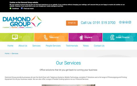 Screenshot of Services Page diamond-group.net - Diamond Group   Services   Photocopiers   Telecoms   IT Support - captured Oct. 24, 2018