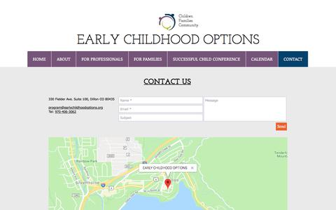 Screenshot of Contact Page earlychildhoodoptions.org - ecodillon | CONTACT - captured July 15, 2018