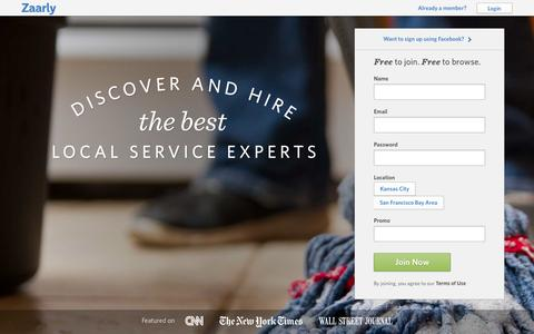 Screenshot of Signup Page zaarly.com - House Cleaning, Handyman, Lawn Care Services in Kansas City and San Francisco | Zaarly - captured Sept. 17, 2014