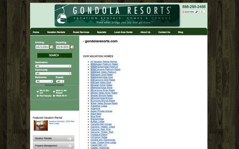 Screenshot of Site Map Page gondolaresorts.com - Vacation Rentals | Colorado and Utah - captured Oct. 3, 2014