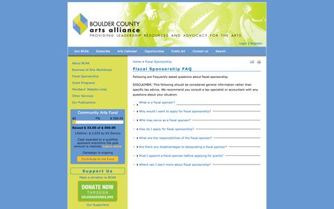 Screenshot of FAQ Page bouldercountyarts.org - Fiscal Sponsorship FAQ | Boulder County Arts Alliance - captured Oct. 5, 2014