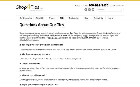 Screenshot of FAQ Page shop4ties.com - FAQ on Neckties - Shop 4 Ties - captured Oct. 29, 2014