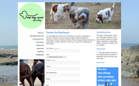 Screenshot of Contact Page thedogsquad.co.uk - The Dog Squad.Complete dog walking and dog care service. Currently recruiting Locum - captured Sept. 30, 2014