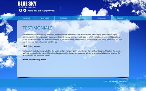 Screenshot of Testimonials Page blueskymm.com.au - Blue Sky Media  |  Testimonials - captured Nov. 22, 2016