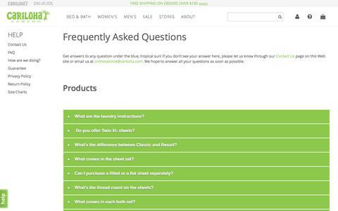 Screenshot of FAQ Page cariloha.com - FAQ - captured Sept. 22, 2016