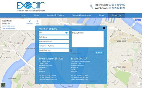 Screenshot of Contact Page exoair.com - Contact Us | Get in Touch - Exoair - captured Oct. 3, 2014