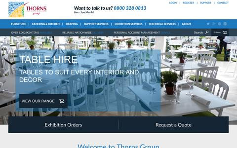 Screenshot of Home Page thorns.co.uk - Furniture Hire, Catering Equipment Hire, Chair Hire London, Event Hire Specialists in UK - captured March 8, 2016