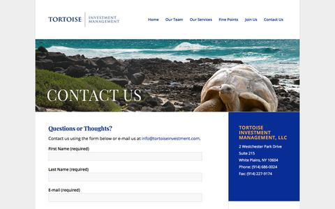 Screenshot of Contact Page tortoiseinvestment.com - Contact Us – Tortoise Investment - captured Oct. 21, 2019