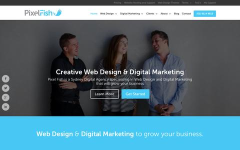 Screenshot of Home Page pixelfish.com.au - Pixel Fish - Sydney Digital Agency - captured July 21, 2015