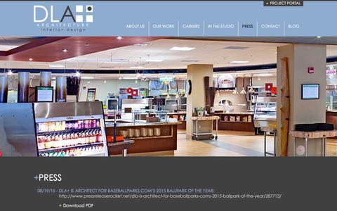 Screenshot of Press Page dlaplus.com - Press | DLA+ Architecture & Interior Design - captured Dec. 2, 2015