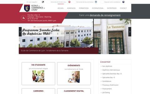 Screenshot of Home Page ecole-de-commerce-de-lyon.fr - Ecole de Commerce de Lyon - Formations Bachelor et MBA à Lyon - ECL - - captured Sept. 30, 2014