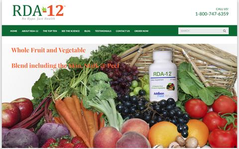 Screenshot of Home Page rda12.com - All-natural Organic Vitamins from Whole Fruits and Vegetables - captured Oct. 4, 2014