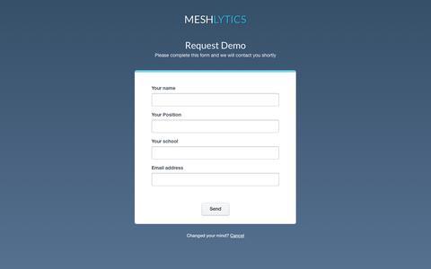 Screenshot of Signup Page meshlytics.com - Meshlytics - captured Oct. 29, 2014
