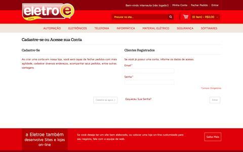 Screenshot of Login Page eletroe.com.br - Login de Cliente Tudo em Tecnologia e Interatividade - captured May 16, 2017