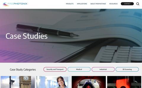 Screenshot of Case Studies Page prophotonix.com - Case Studies: ProPhotonix - captured Sept. 27, 2018