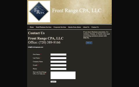Screenshot of Contact Page frontrangecpas.com - Professional accounting services, Front Range CPA, LLC Contact Us - captured Oct. 6, 2014