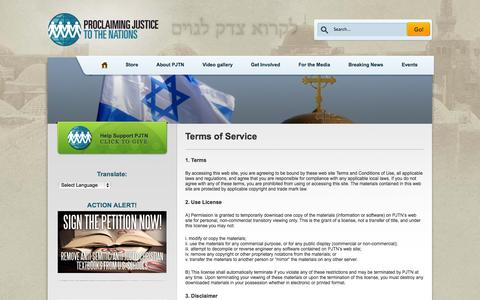 Screenshot of Terms Page pjtn.org - PJTNTerms of Service - captured Oct. 3, 2014