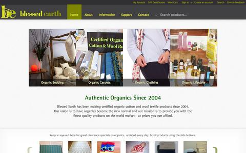 Screenshot of Home Page blessedearth.com.au - Blessed Earth | Australia's Finest Range of Organic Cotton & Wool  Bedding, Clothing and Sustainable Living Products - captured Oct. 5, 2014