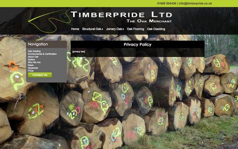 Screenshot of Privacy Page timberpride.co.uk - Privacy Policy - Timberpride Ltd - captured Sept. 30, 2014