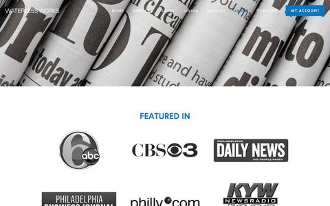 Screenshot of Press Page waterless-works.com - In the News — Waterless Works® - captured Aug. 12, 2016
