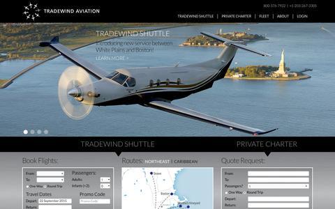 Screenshot of Home Page flytradewind.com - Home - Tradewind AviationTradewind Aviation - captured Sept. 22, 2015