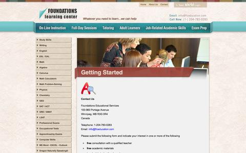 Screenshot of Privacy Page Contact Page Terms Page flceducation.com - Foundations Learning Center : Getting Started - captured Oct. 23, 2014
