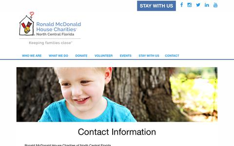 Screenshot of Contact Page rmhcncf.org captured Oct. 23, 2017