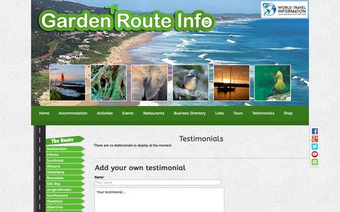 Screenshot of Testimonials Page garden-route-info.co.za - Garden Route Info - captured Oct. 21, 2018