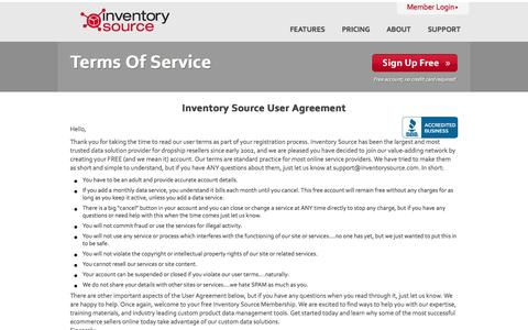 Screenshot of Terms Page inventorysource.com - Terms Of Service - Inventory Source User Agreement - captured Oct. 29, 2014