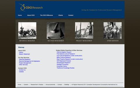 Screenshot of Site Map Page cdci.ca - Canadian Development Consultants International - captured Oct. 1, 2014