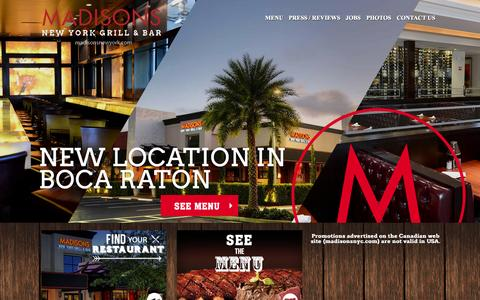 Screenshot of Menu Page madisonsnewyork.com - Home | Madison's - captured Nov. 2, 2014