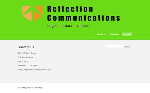 Screenshot of Contact Page reflectioncommunications.com - Contact Us   Reflection Communications - captured Oct. 26, 2014