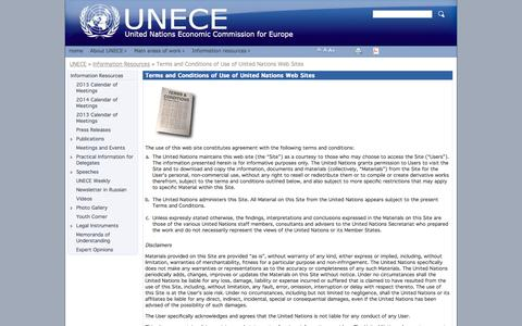Screenshot of Terms Page unece.org - Terms and Conditions of Use of United Nations Web Sites - UNECE - captured Oct. 27, 2014