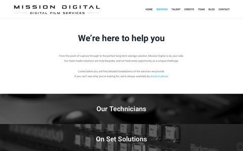 Screenshot of Services Page missiondigital.co.uk - Services | Mission Digital - captured Aug. 15, 2016